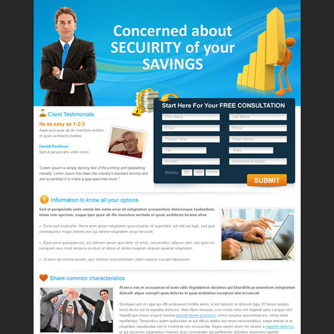 free insurance consultation landing page design for sale Landing Page Design example