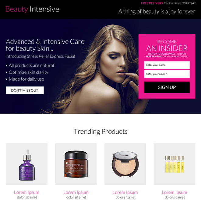 advance and intensive care beauty product landing page Beauty Product example