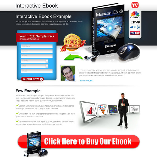 Interactive ebook converting lead capture lander design Ebook example