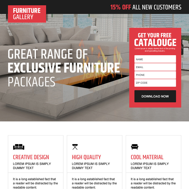 interior and furniture store converting landing page design Interior and Furniture example