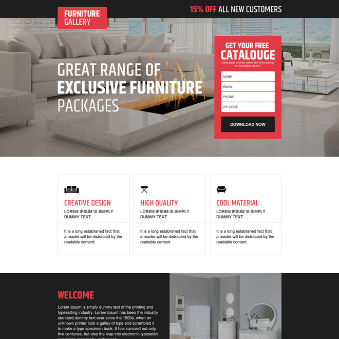interior and furniture store responsive landing page design Home Improvement example