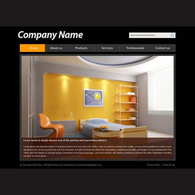 Interior Design Company Layout Psd For Sale Website Template PSD Example