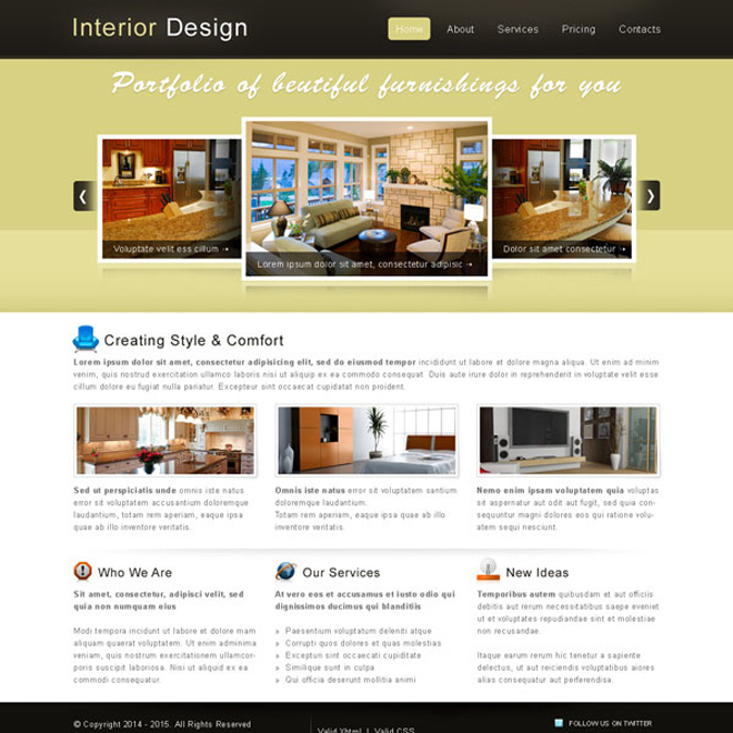 interior designing website template psd interior and furniture example