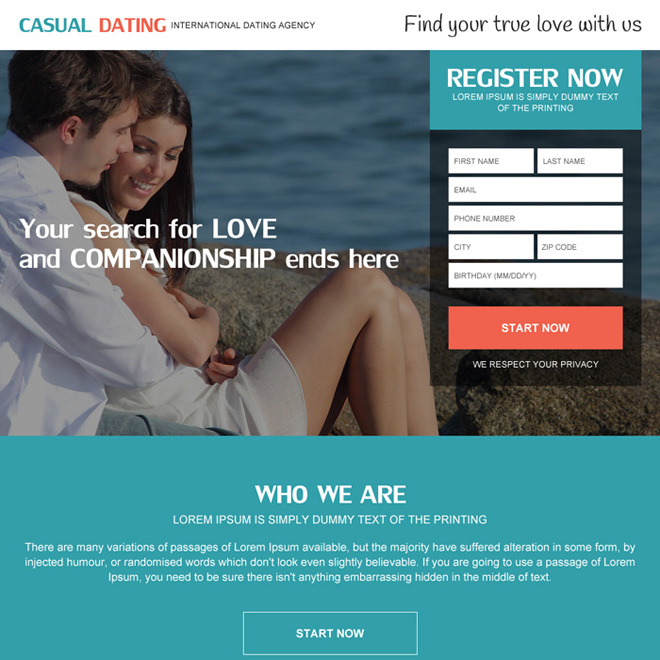 Dating landing page design templates for your online dating website.