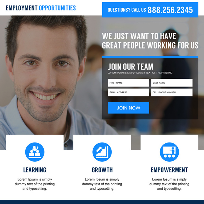 international employment opportunities converting landing page design Employment Opportunity example