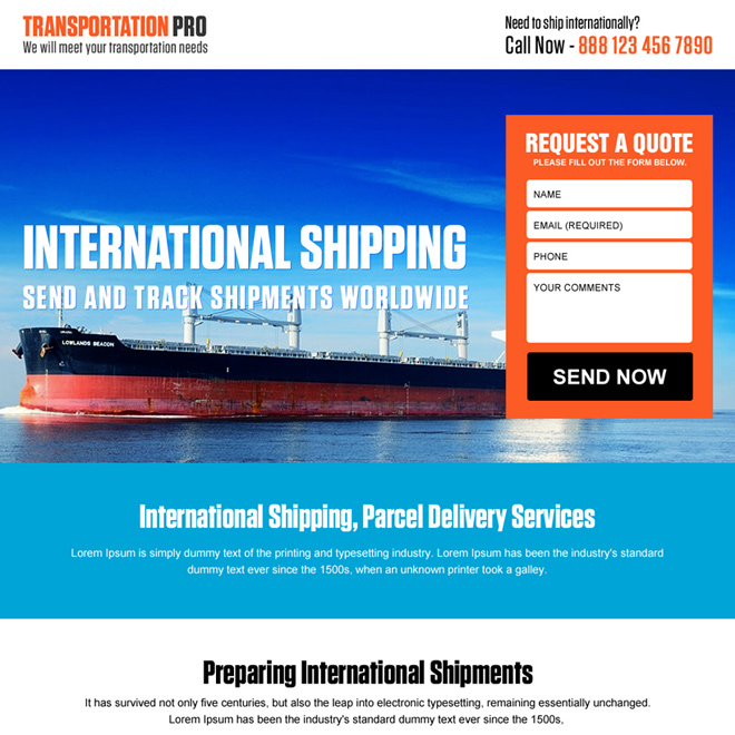 international shipping free quote landing page design Transportation example