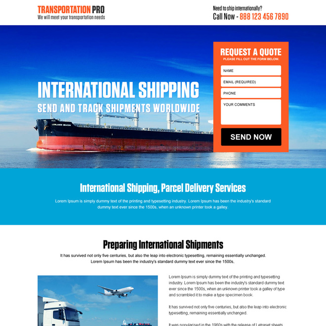 responsive international transportation service landing page Transportation example
