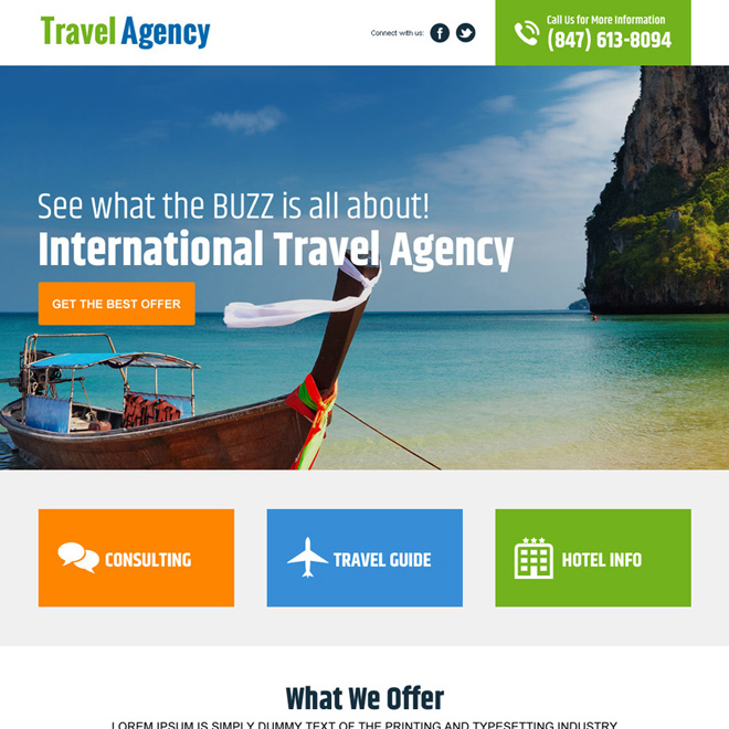 international travel agency landing page design Travel example