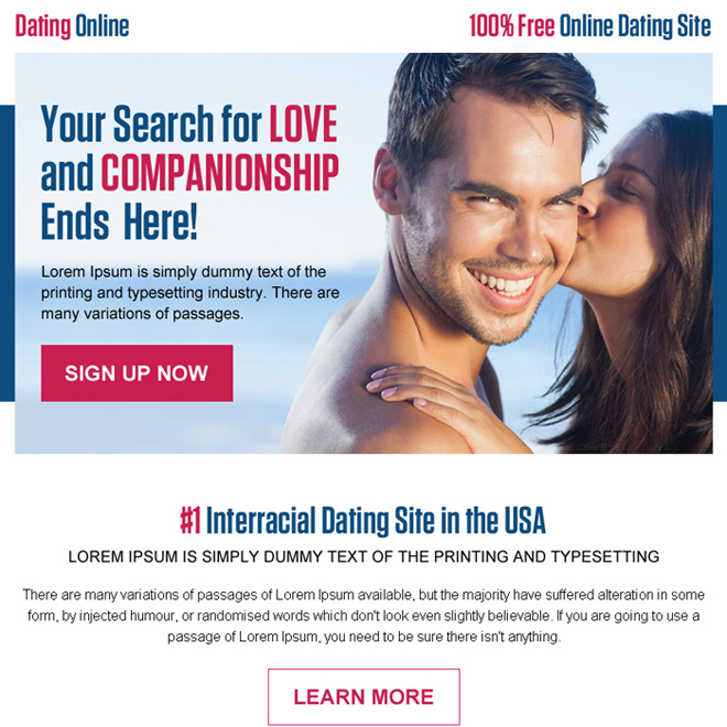 love and companionship dating ppv landing page design Dating example