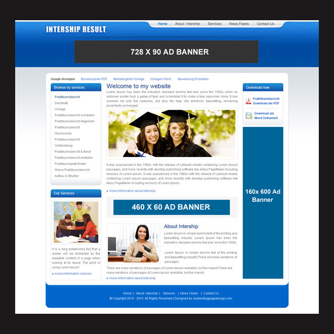 internship online education website template psd to create website for your education service Website Template PSD example