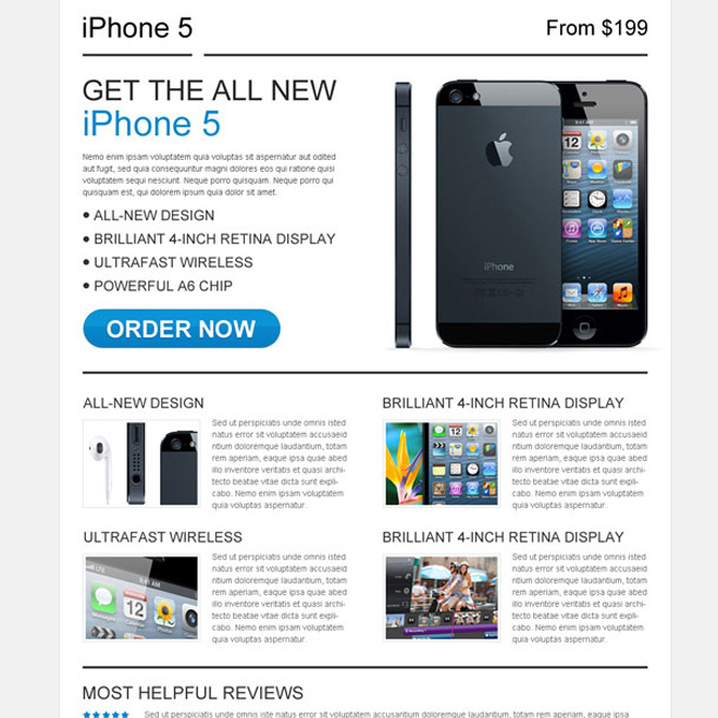 Iphone5 review call to action landing page design Product Review example