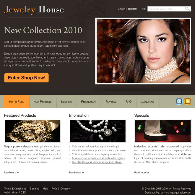 jewelry house website template design PSD Website Template PSD example