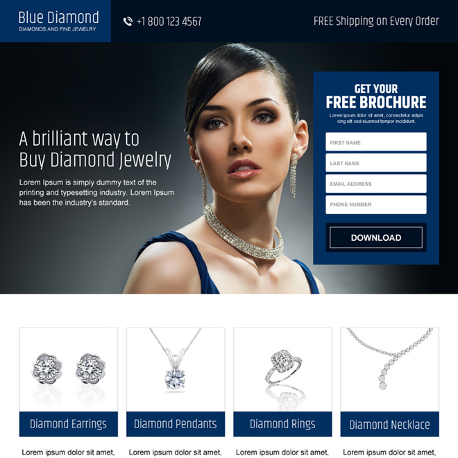 online jewelry free brochure lead capture landing page Jewelry example