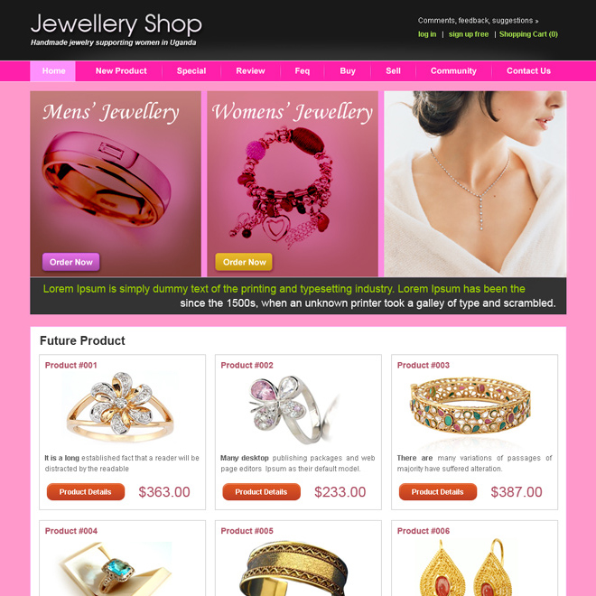 jewelry shop website template design psd for sale Website Template PSD example