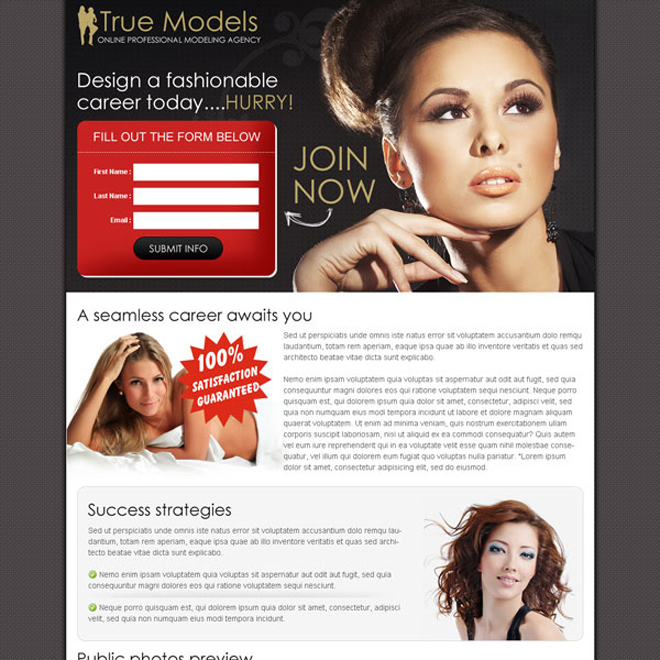 design a fashionable career today small lead capture splash page design Fashion and Modeling example
