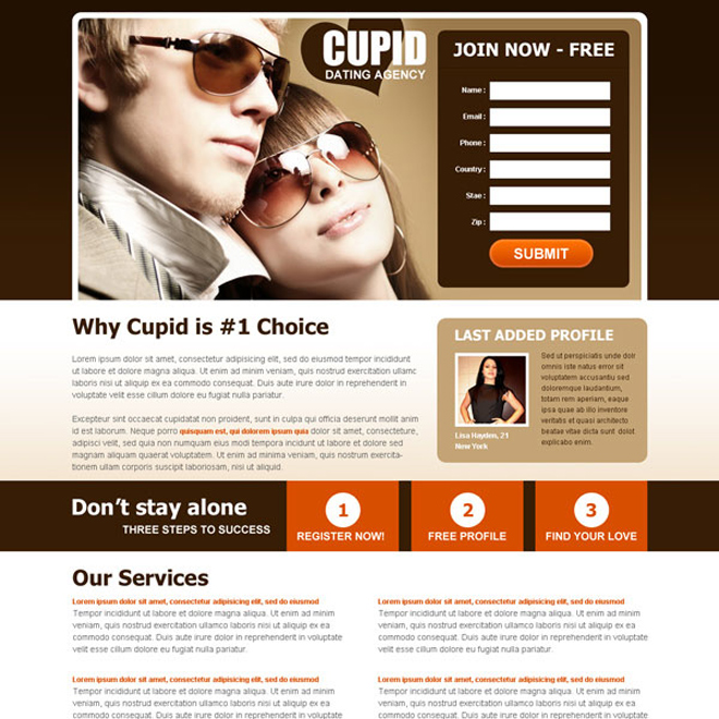 dont stay alone attractive dating lead capture landing page design Dating example