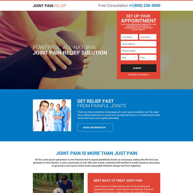 joint pain relief solution free consultation landing page design Pain Relief example