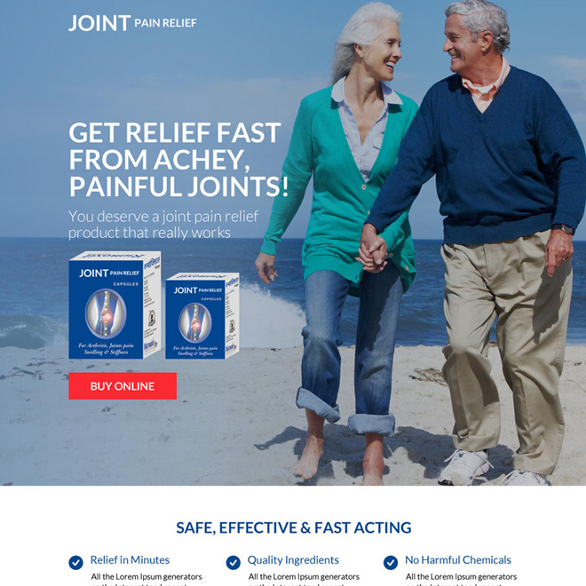 joint pain relief product selling responsive landing page Pain Relief example