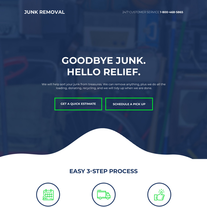 junk removal service bootstrap landing page design Cleaning Services example