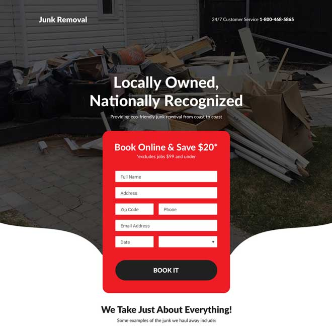 junk removal service responsive landing page design Cleaning Services example