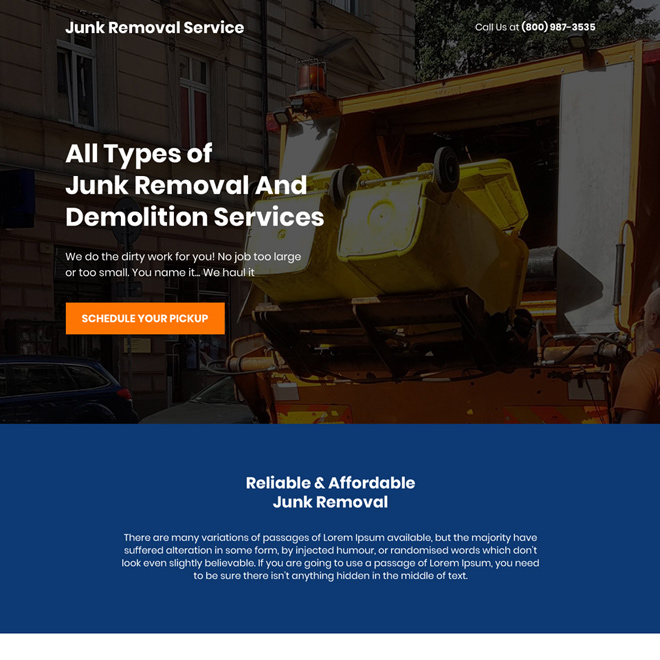 junk removal and demolition service landing page design Cleaning Services example