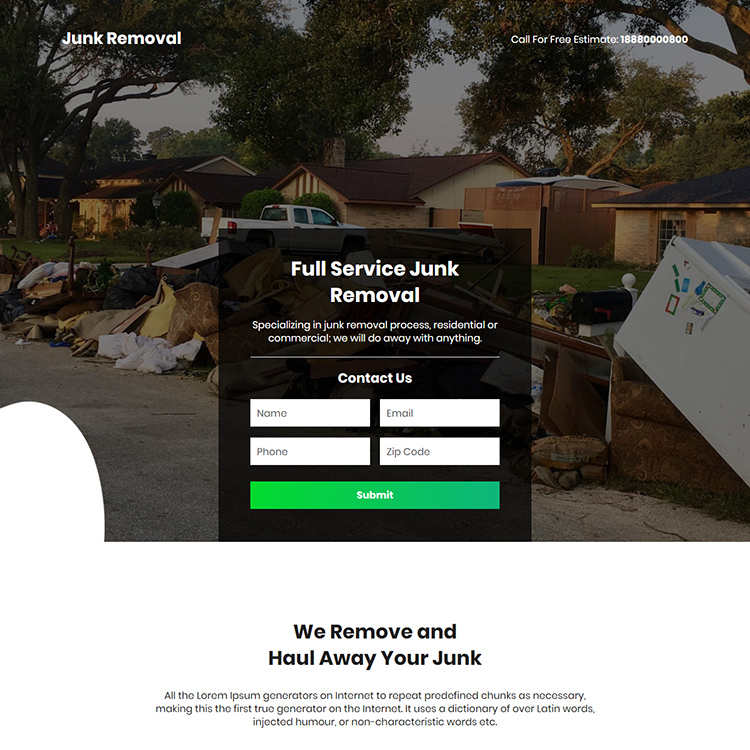 junk trash removal lead capture responsive landing page design Cleaning Services example