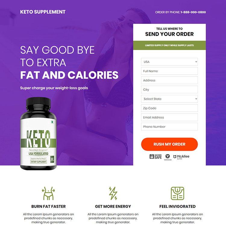 keto supplement responsive weight loss landing page Weight Loss example