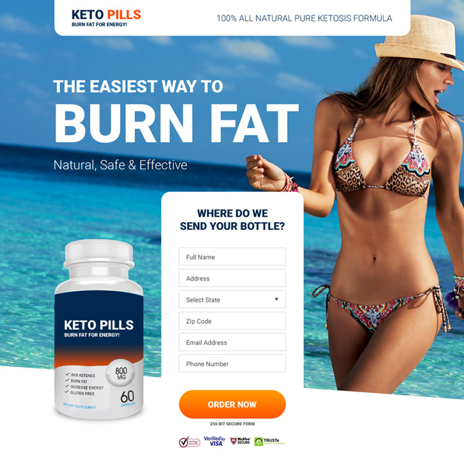keto pills selling responsive landing page design Weight Loss example