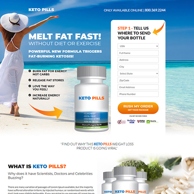 keto pills weight loss responsive landing page design Weight Loss example