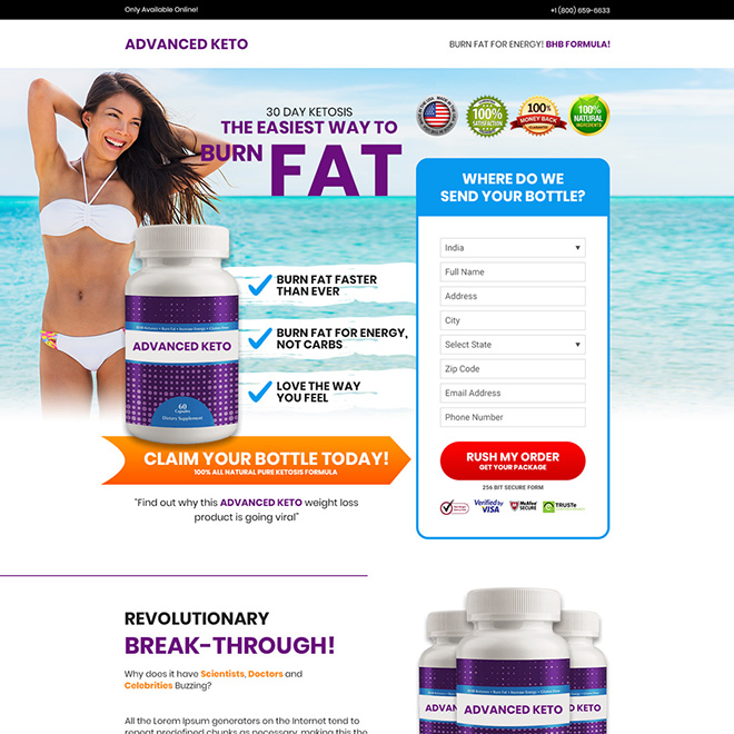 keto weight loss supplement selling bootstrap landing page design Weight Loss example