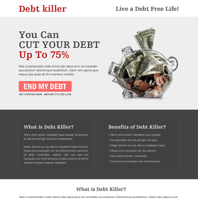 killer call to action clean landing page design to cut your debt Debt example