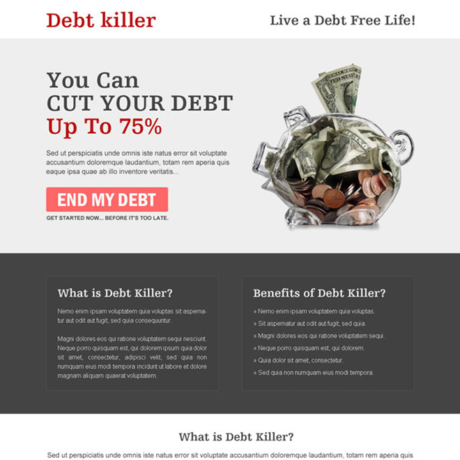 debt business service responsive landing page design templates Debt example