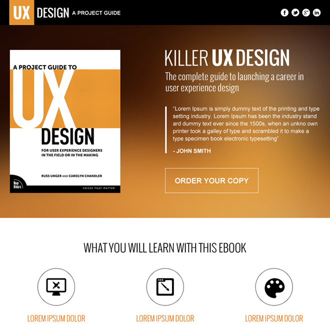 responsive e-book selling landing page design Ebook example