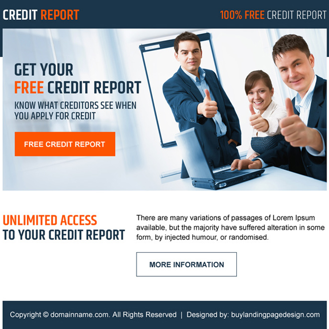 professional free credit report lead generating ppv landing page Credit Report example