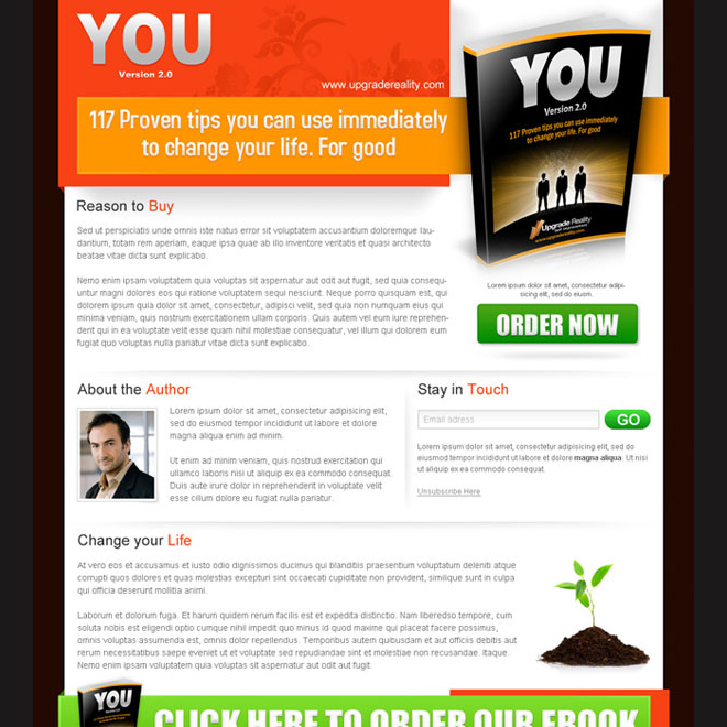 landing page design templates to sell your e-book Ebook example