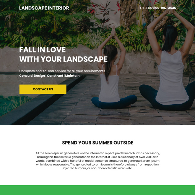 landscape design company bootstrap landing page Home Improvement example