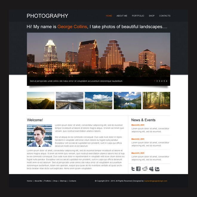 clean and effective website template design psd for photography Website Template PSD example