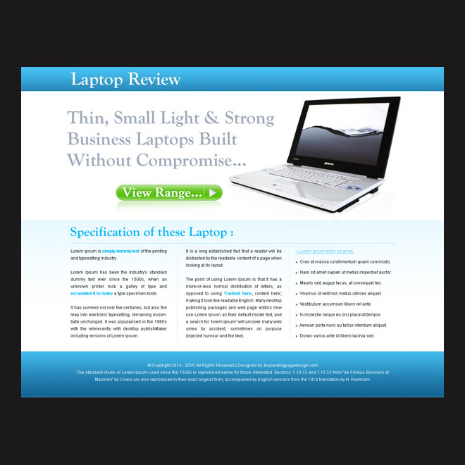 laptop digital product review landing page design for sale Landing Page Design example