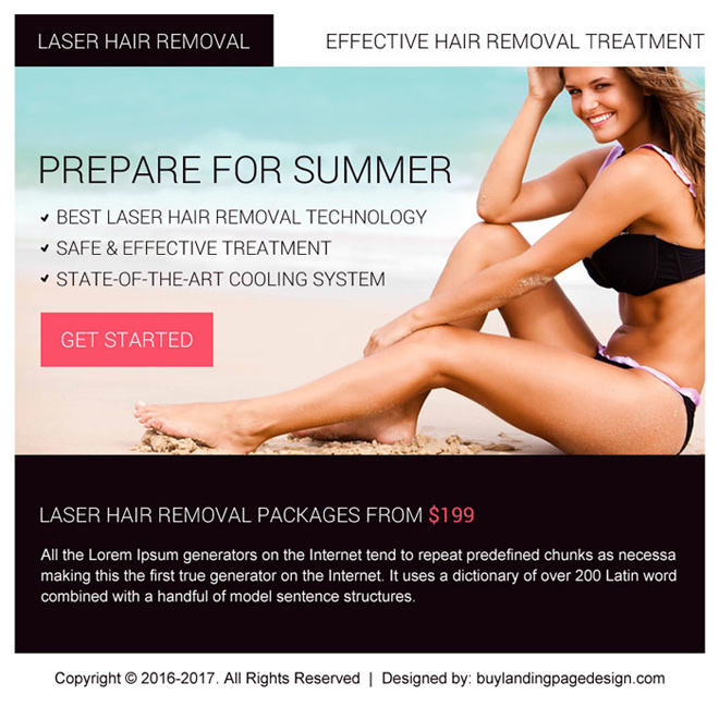 best laser hair removal ppv landing page design Hair Removal example