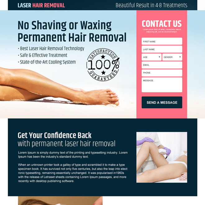 laser hair removal service lead gen landing page design Hair Removal example