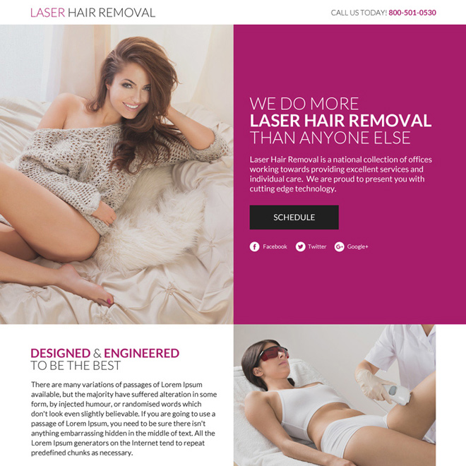 laser hair removal lead funnel responsive landing page Hair Removal example