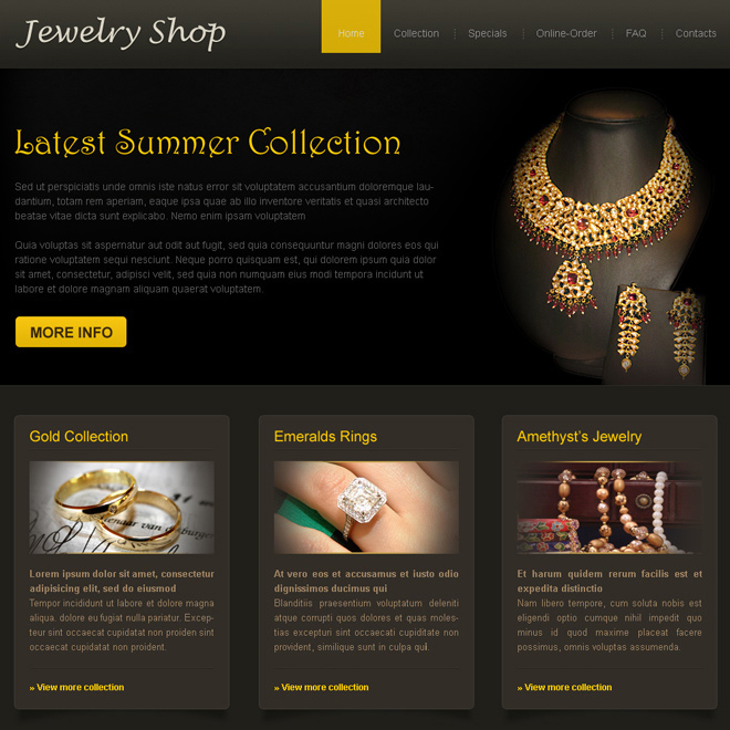 latest summer collection online jewelry shop website template Website Template PSD example