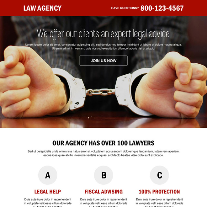 law agency call to action landing page design Attorney and Law example
