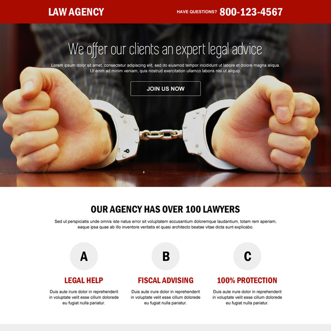 law agency call to action responsive landing page design Attorney and Law example