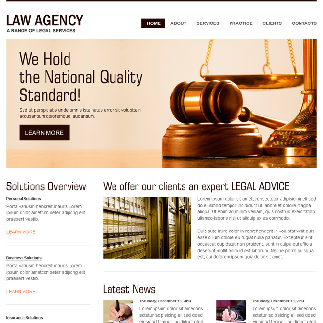 clean and minimal looking law agency high converting html website template Attorney and Law example