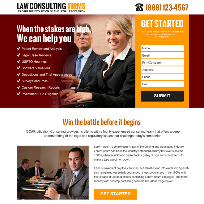 law consulting firms lead capture landing page design Attorney and Law example