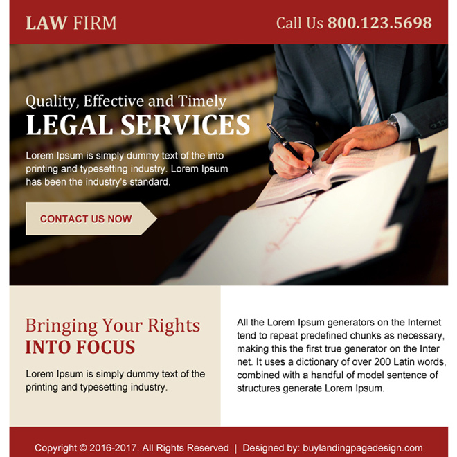 law firm ppv landing page design for legal services Attorney and Law example