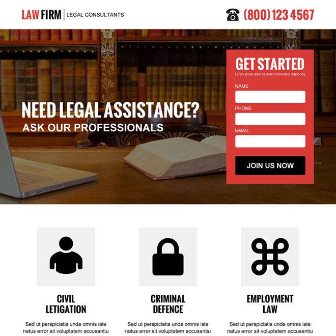 law firm clean and professional lead capture landing page design Attorney and Law example