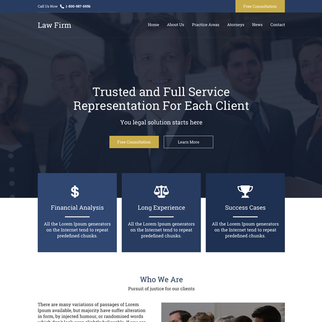 professional law firm free consultation responsive website design Attorney and Law example