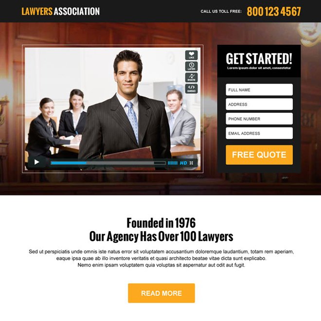lawyers association responsive video landing page design template Attorney and Law example